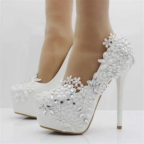 Wedding Shoes For by Heels Fashion White Lace Flower Rhinestone Pumps