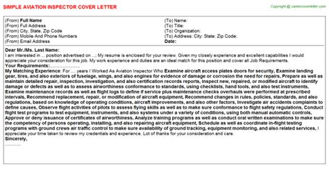 Aircraft Inspector Cover Letter by Aviation Inspector Cover Letter Sle On53605101
