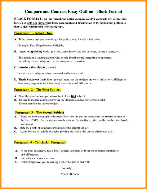 Comparison Contrast Essay Format by 6 Writing A Comparison Contrast Essay Agenda Exle