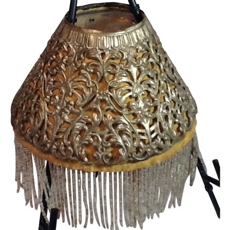 l shade with fringe pierced metal l shade with beaded fringe
