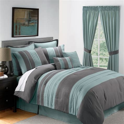 Blue And Grey Comforter Set sale 8pc king size blue gray pintucked comforter set ebay