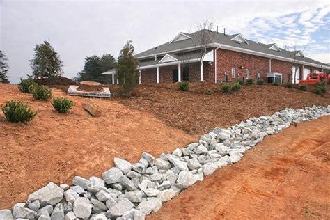 Landscape Edging To Prevent Erosion Erosion Yard Rock Drainage Ditch Creek Bed