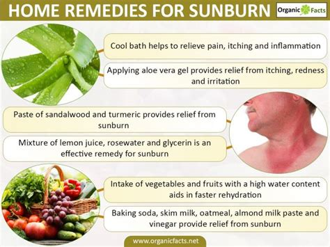 20 effective home remedies for sunburn organic facts