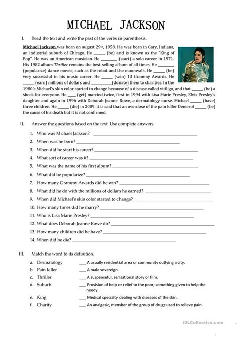 biography text of michael jackson 25 free esl michael jackson worksheets