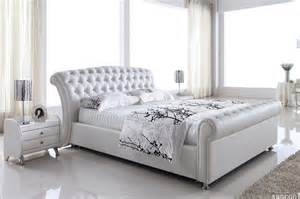 Leather white queen size bed frame quot platinum quot high bedend classic