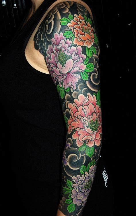 japanese house tattoo japanese style sleeve of peonies by helmuth