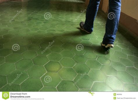 green tile floor in an ancient building royalty free stock