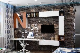 Console Chambre A Coucher #1: id%C3%A9es-pour-la-chambre-d%E2%80%99ado-garcon-mur-brique-systeme-etageres-bois-blanc-eclairage-indirect.jpg