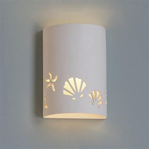 Ceramic Wall Sconce 9 Quot Seashore Themed Ceramic Cylinder Sconce Traditional Ceramic Interior Wall Sconces