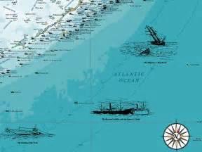 woodmounted florida shipwreck chart nautical chart