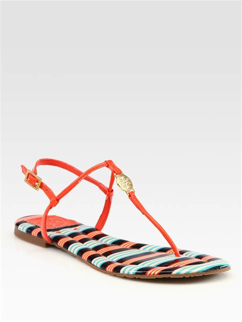 burch logo sandals burch emmy patent leather logo sandals in