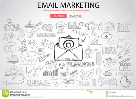 doodle 4 email email marketing with doodle design style stock vector