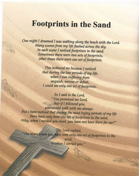 printable version of footprints in the sand poem footprint in the sand verse inspirational poem plaque