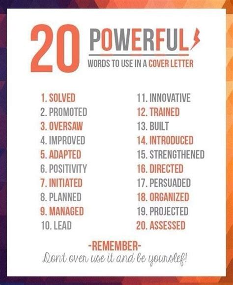 Employment Letter Phrases words to use in a application to words and powerful words
