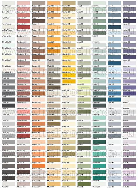каталог таблица цветов caparol