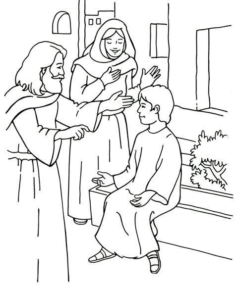 jesus raises a young man to life coloring page