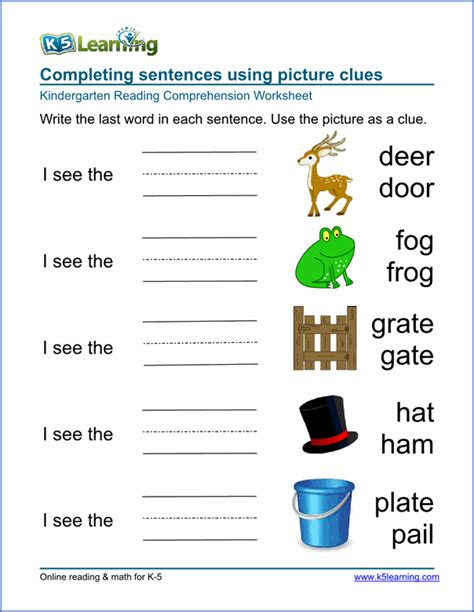 printable games for kindergarten reading kindergarten reading comprehension worksheet nature