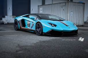 Blue Lamborghini Blue Lamborghini Aventador With 50th Anniversary