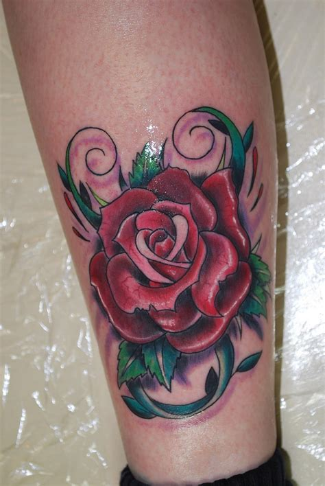 rose tattoo on leg tattoos page 6