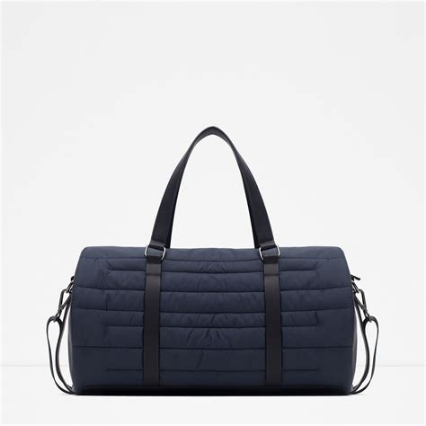 zara quilted duffel bag in blue for lyst