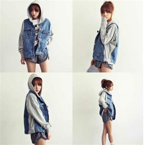 Look Korean Jaket Baseball Brown vintage 2013 korean new denim varsity jacket hooded patchwork baseball
