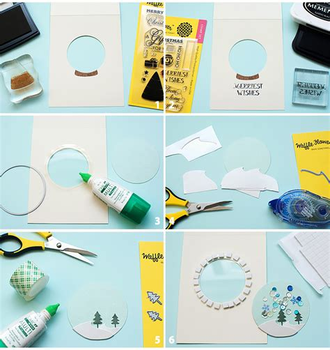 how to make a snow globe card waffle flower snow globe shaker cards mayholic in crafts