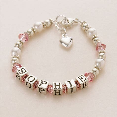 name bracelet silver pearl many charms colours