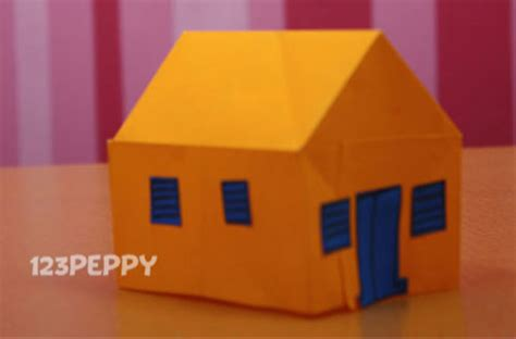 Paper House Craft - how to make a house with color papers 123peppy
