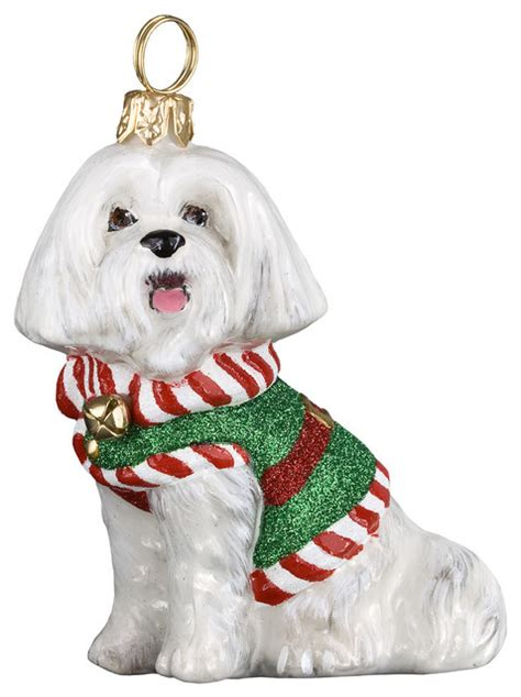 diva dogs maltese hounds tooth sweater ornament