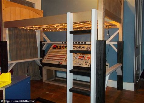Bed Frame Stilts with Best Builds Amazing Spaceship S Loft Bed As For His Fifth