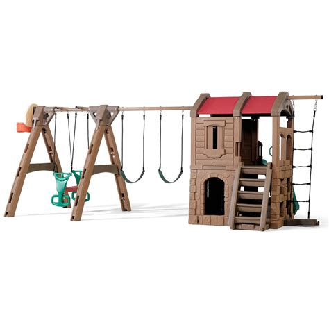 2 step swing set naturally playful adventure lodge play center with glider