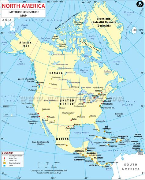 lat map america latitude and longitude map