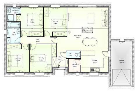 Plan Pavillon 100m2 by Plan Maison 100m2 Plein Pied 3 Chambres Qr52 Jornalagora