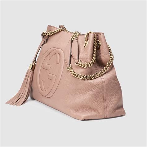 Garucci Bag Pink 2 lyst gucci soho leather shoulder bag in pink