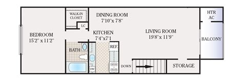 1 bed 1 bath house 650 square feet apartment floor plan
