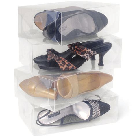 clear shoe storage boxes clear plastic womens shoe storage boxes set of 10 in