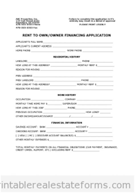 Owner Financing Agreement Printable Free Blank Form Seller Financing Contract Template