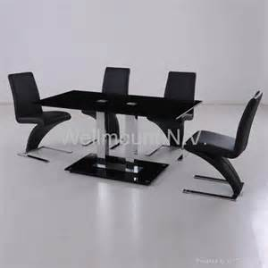 Black Glass Dining Table Z Chairs New Black Tempered Glass Dining Table With 6 Stylish Pu