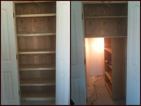 built  linen closet   hidden door  mask