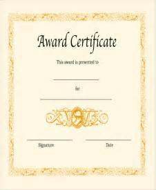 Blank Certificate Templates Blank Award Certificate Sample