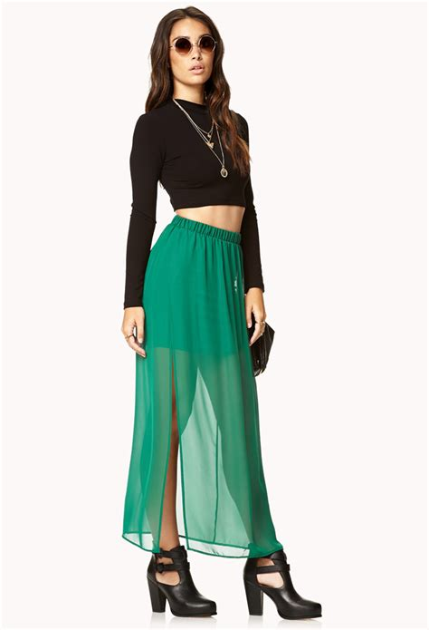 lyst forever 21 side slit chiffon maxi skirt in green