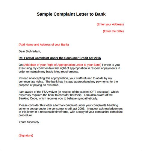 Complaint Letter To Your Bank sle complaint letter to bank service compudocs us