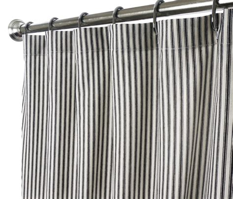 black and white fabric shower curtains long shower curtains fabric unique black and white ticking stripe extra long 84 quot ebay