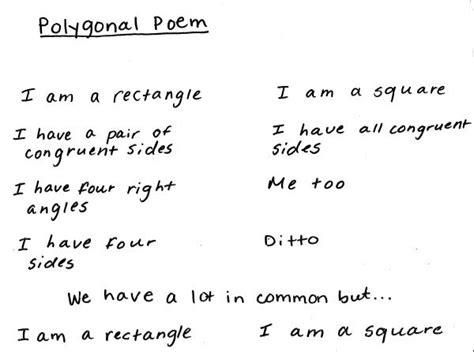 Create A Two Voice Poem For Math Shapes And Concepts To