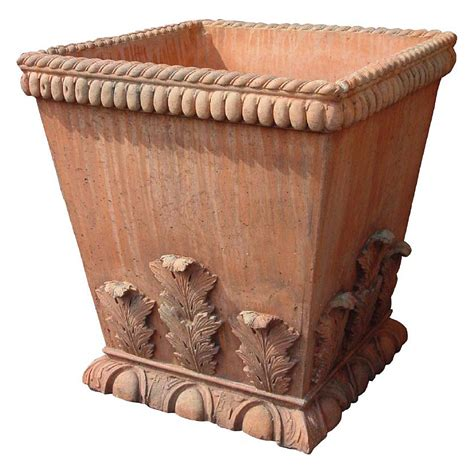Square Terracotta Planters by 25 Inch Acanthus Leaf Square Terracotta Planter