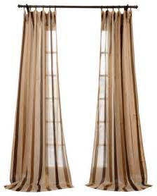 Striped Linen Curtains Carlton Taupe Linen Blend Stripe Sheer Curtain Traditional Curtains By Half Price Drapes
