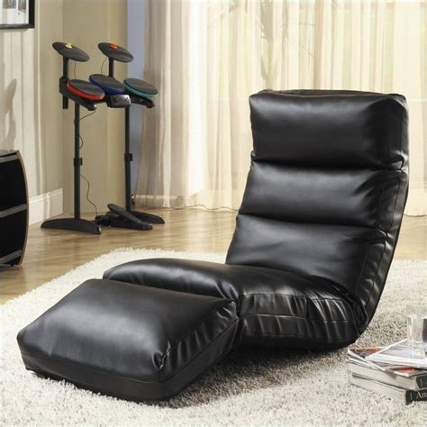 chaise gamer pc trent home gamer faux leather floor lounge chair in black 4726bk