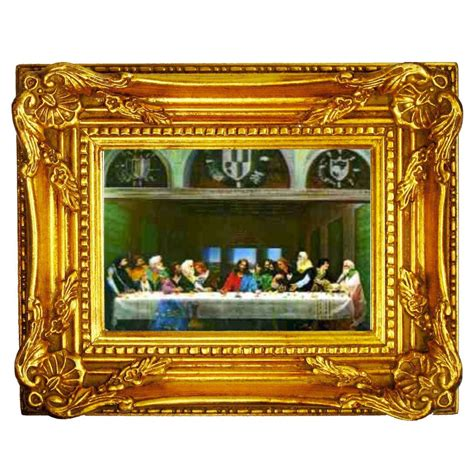 Frame G04 Is 3d lenticular wall decor w gold wood frame 7x8 last supper