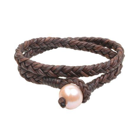 flat leather for jewelry pink wrap flat braid bracelet designer