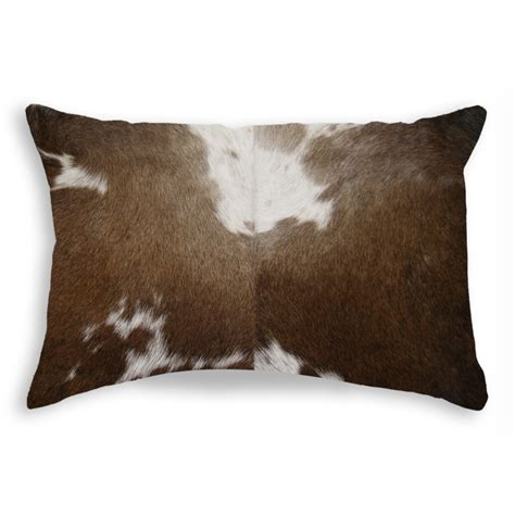 brown patterned pillows torino cowhide pillow patterned 12 quot x 20 quot brown